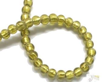 silver color = light khaki (pv456) olivine leaf 10 Murano style beads