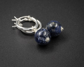 Sodalite hoop earrings, Sodalite and sterling silver boho hoop earring drops, denim blue and silver sodalite earrings, sodalite jewelry