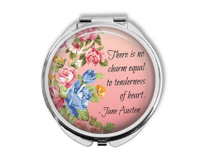 "Jane Austen ""There is no charm equal to tenderness of heart"" Compact Mirror Pocket Mirror Large"