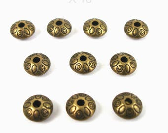 Set of 10 metal antique BRONZE color