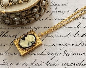 Locket Book Necklace, Book Necklace, Book Locket, Cameo Necklace, Cameo Locket, Book Lover Gift, Book Locket Necklace, Antique Locket