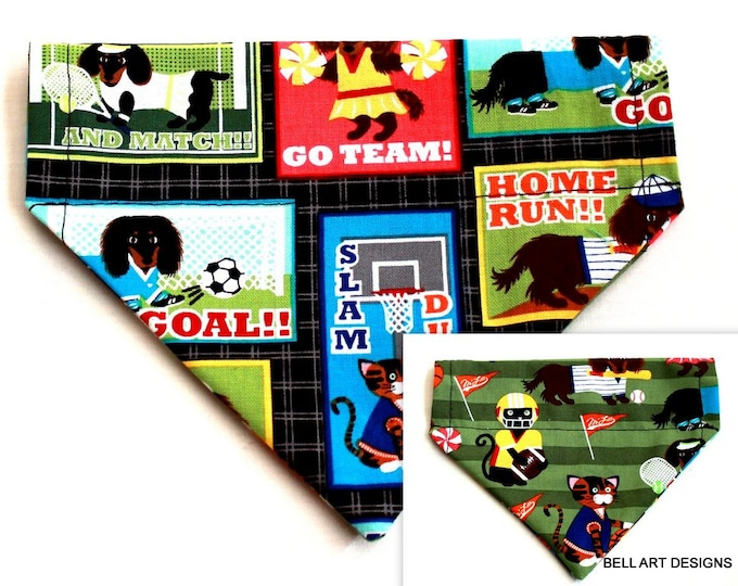 SPORTS ~ Over the Collar ~ Reversible ~ Dog Pet Bandana ~ Bell Art Designs ~ Extra Small ~ DCXS0261
