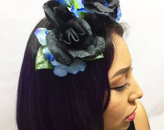 Black Rose and Blue Hydrangea Flower Crown Headband