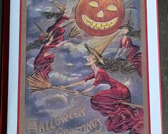 Red Witches Coven Card, Halloween Greetings, vintage style, All Hallows Eve, many more cards in shop!
