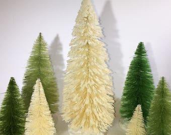 9 inch tall White glittered Bottle brush tree