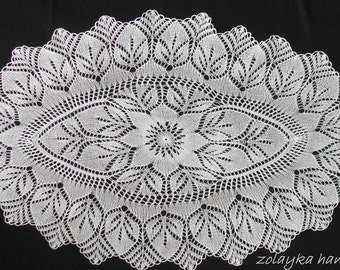 Knitted Oval Lace tablecloth  Large oval runner rustic table placemats 50 inch oval table top white cotton lace table overlay free shipping