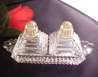 Vintage 5 Piece Crystal Individual Salt & Pepper Set on Serving Tray, Mid Century Clear Art Deco Mini Glassware For Breakfast in Bed Tray