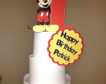 Mickey Mouse Cake Topper 3 Piece Set Personalized With Age Name