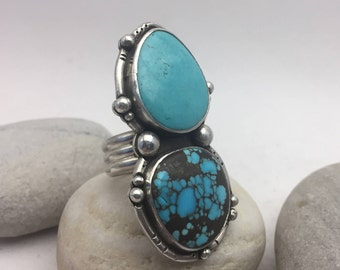 Turquoise Ring, Fits like 8 3/4, Double, Statement Ring, Boho, Hippie, December Birthstone, Gypsy,