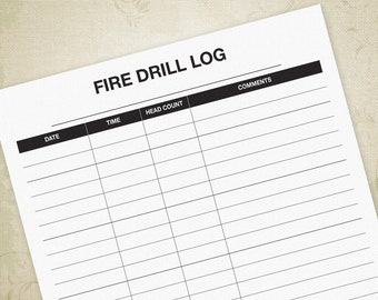 Fire Drill Log Printable Form PDF, School Fire Drill Practice Sheet, Daycare Form, A4, Letter - Digital File, Instant Download