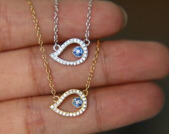 Sterling Silver Plated Greek Turkish Evil Eye Cubic Zircon Aquamarine Necklace