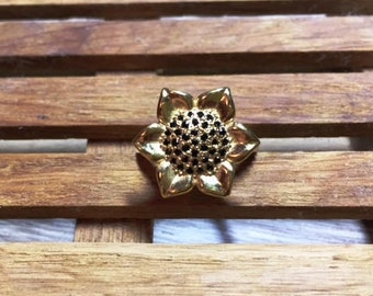Sunflower ring, silver ring, gold plated, silver 925