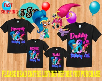 SHIMMER and SHINE Girl birthday Family BLACK Theme Shirts Vacation Long Sleeve Short Sleeve Tank tops Toddler Tshirt disney