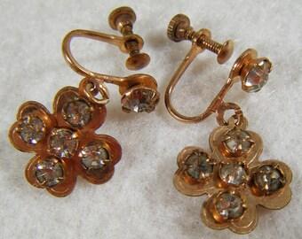 Vintage 70's Copper Tone Clover & Rhinestone Screw Back Earrings