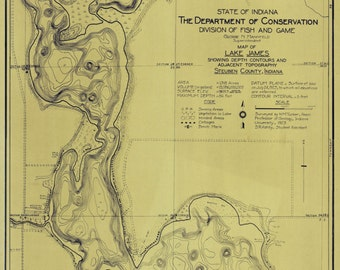 Lake James Map, Steuben County Indiana - 1923