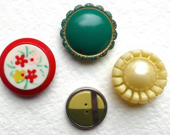 Celluloid buttons, Art Deco, vintage. 4 different, all are rounded, fancy bubble top, crimped, floral, two-tone. c 1920's to 30's.