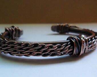 Tessuto di rame intrecciato bracciale, Mens o filo di rame donna Bracciale braccialetto