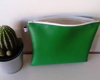 clutch faux green leather 28 x 22 cm