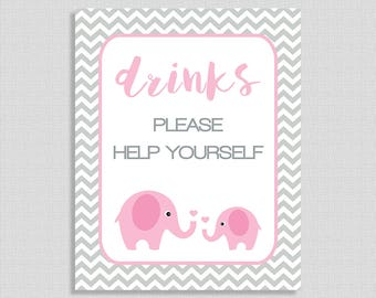 Pink Elephant Drinks Sign, Drink Table Sign, Pink and Grey Chevron, Baby Girl Shower Sign, INSTANT PRINTABLE