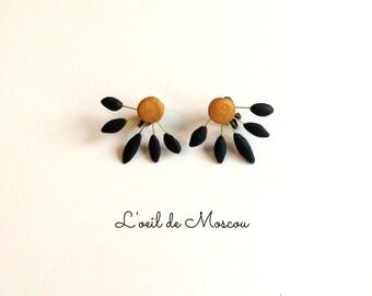 clip on earrings Golden pastille, black petals