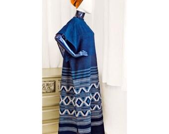 Kaftan swimsuit cover up Beach Navy Blue Cotton handwoven Caftan maxi dress loose fitting Hippy Chic slouchy beach Long dress luxurious