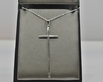 Sterling Silver Long Cross Pendant Necklace