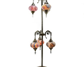 Mosaic Handmade Floor Lamp Turkish Moroccan Ottoman Tall Six Balls Multi  Color Night Lamp