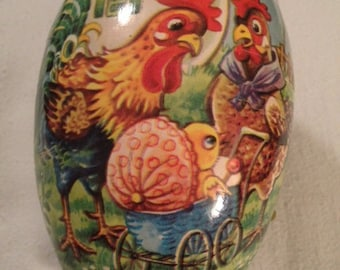 Large Vintage German Paper Mache Egg Candy Container