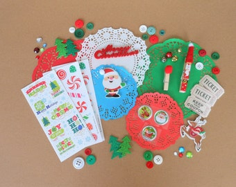 Christmas Ephemera, Santa Ephemera, Santa, Reindeer, Journal Kit, Scrapbook Supplies, Craft Kit, Paper Crafting, Christmas Journal