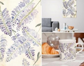 Printable Purple watercolor wisteria flowers in watercolor