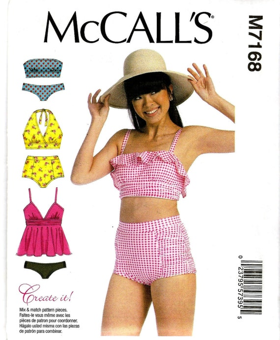 Misses Swimsuit Sewing Pattern - McCall\'s M7168 - Halter Bra Top ...