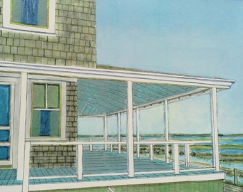 Provincetown Porch - Fine Art Print, Cape Cod, Beach, Ocean, Summer, Giclee Archival Print,  Home Wall Decor, Wall Art, Gift