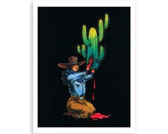 CACTUS SACRIFICE illustration print, tattoo inspired print