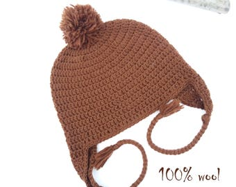 One of a Kind 100% Wool Brown Pom Pom Beanie with Ear Flaps and Braids, Peruvian Trapper Warm Crochet Ear Hat, Valentine Gift for Man Woman