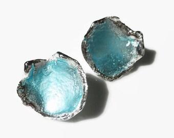 Silver enamel post earrings in opalescent blue, blue earrings, enamel earrings, large post earrings, blue enamel, ocean earrings, organic