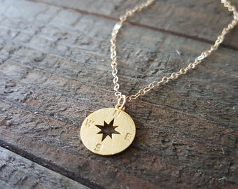 Compass Necklace, 14K Gold Compass Necklace, Gold Travel Jewelry, Minimalist Jewelry