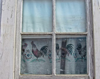 Country Window - Fine Art Photography - Rooster - Home Decor - Wall Art - Country Print - Photograph - Photo - Birds - Chickens - Renfro