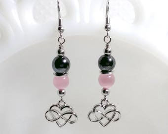 Infinite Love Earrings, Hematite, Cats Eye, Gemstone Jewelry, Metaphysical, Valentines Day, Gifts For Her, Pink, Mothers Day, Celtic Heart