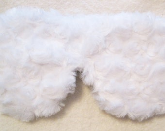 Silk Luxury  Minky Sleeping Eye Mask in Soft White Swirls- Fully Adjustable