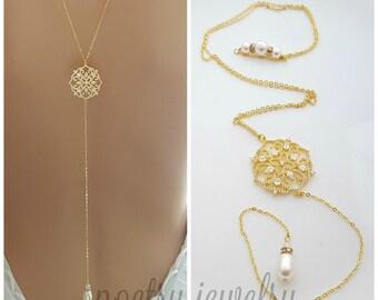Gold Back Necklace, Bridal Backless Necklace, Crystal Wedding Necklace, Gold Bridal Backdrop Necklace, Simple Back Necklace, Sadie