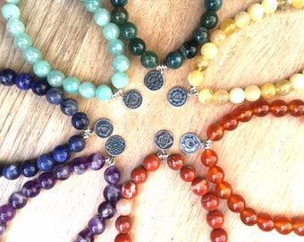 ZenHappy Chakra Gemstone Stretch Bracelet with Sterling Silver Charm; Yoga Jewelry; Chakra Colors