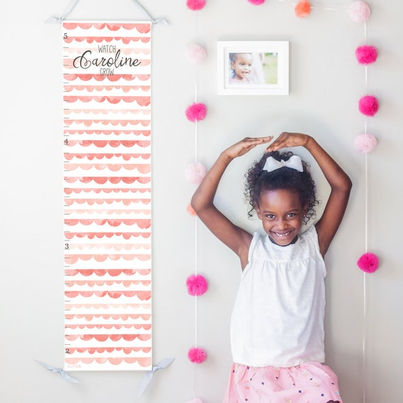 Personalized Watch Me Grow canvas growth chart with pink watercolor scallops