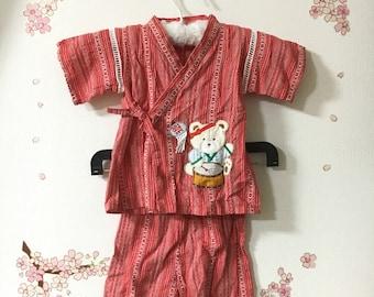 Toddler Boy Kimono, Red Traditional Design, Baby Kimono, Child Kimono, Baby Gifts, Baby Jinbei, Photo Prop Idea, Ninja Outfit, Kawaii