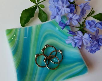 Green and Blue Fused Glass Dish - Ring Dish - Jewelry Dish - Spoon Rest