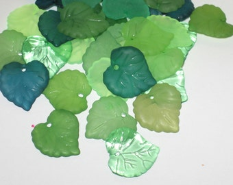 Acrylic Leaf Beads Lucite Leaf Beads - 15mm Jungle Mix 30