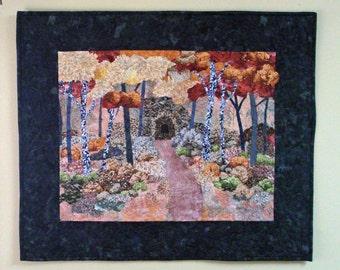Fiber Art Quilt Wallhanging Autumn, Elroy Sparta Bike Trail, Wisconsin, Quilted Wall Hanging, Fiber Fall Scene, Handmade, Original Wall Art