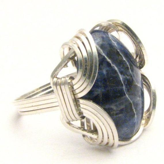 Handmade Sterling Silver Wire Wrap Blue Sodalite Gemstone Ring