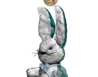 Toy Bunny to Knit - Vintage Digital Pattern - PDF Instant Download - PrettyPatternsPlease