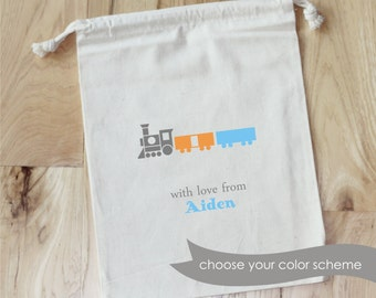 TRAIN - Personalized Favor Bags - Set of 10 - Birthday - Baby Shower- Choo Choo