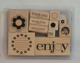 ENJOY EVERY MOMENT Retired Stampin Up Wood Mount Stamp Set
